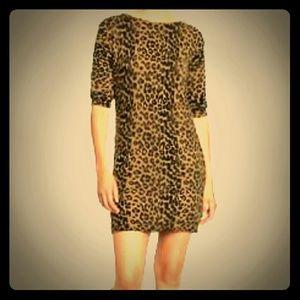 XS 4/6 Sweater Dress Leopard Print Tan Black Brown